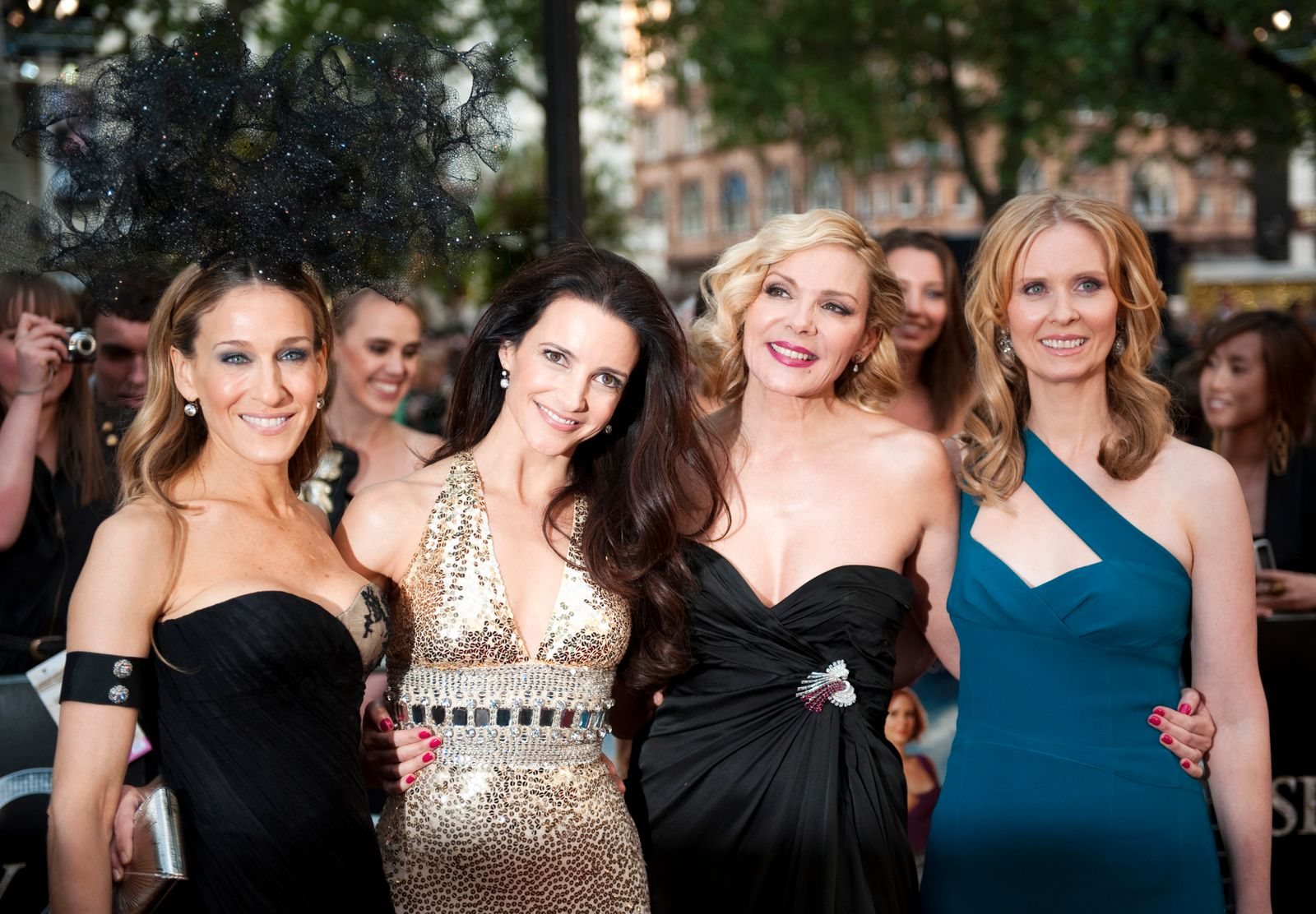 Actresses Sarah Jessica Parker, Kristin Davis, Kim Catrall and Cynthia Nixon pose for photographers in London