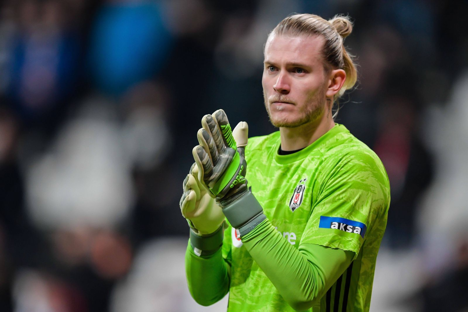 goalkeeper Loris Karius of Besiktas JK mad a great fault at the first goal of Sivasspor during the Turkish Spor Toto Su