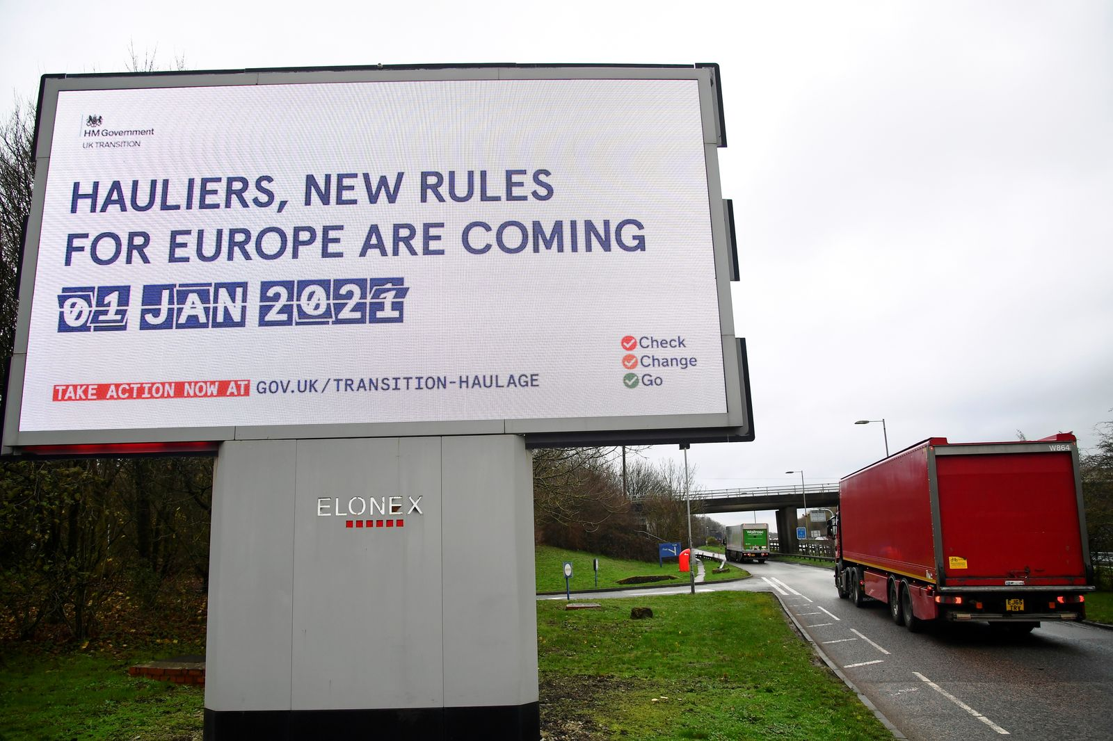 British government Brexit information campaign advertisement is seen along the M25 near Westerham