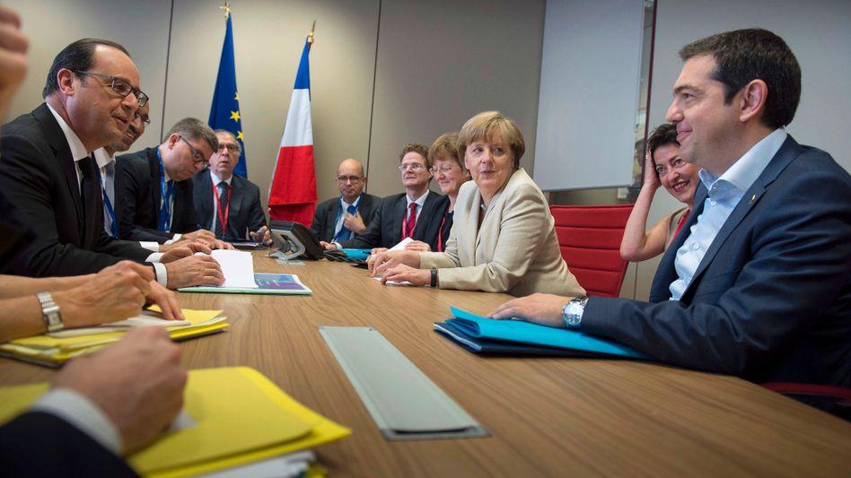 Merkel, Hollande und Tsipras: Drittes Hilfspaket angedacht