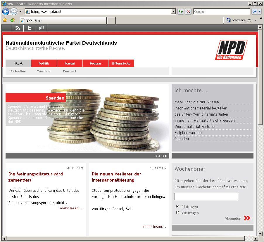 Screenshot NPD Homepage SPENDEN
