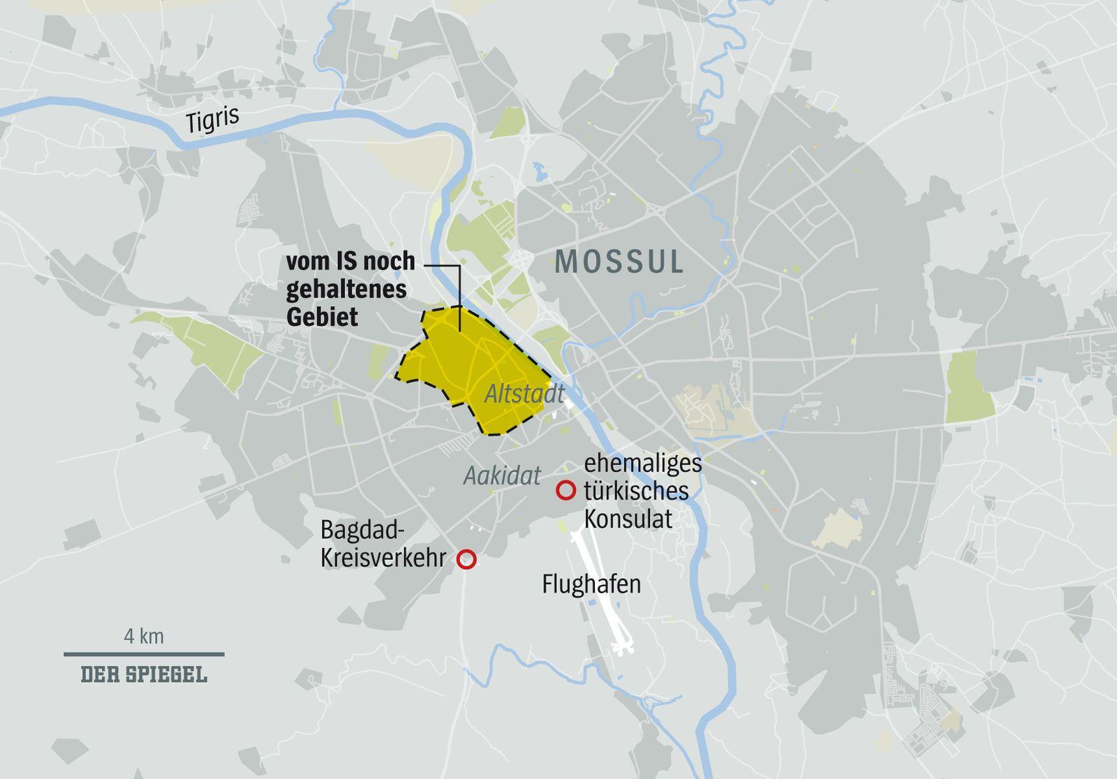 EINMALIGE VERWENDUNG NUR FÜR SPIEGEL Plus SPIEGEL 22/2017 Mossul Irak IS Karte