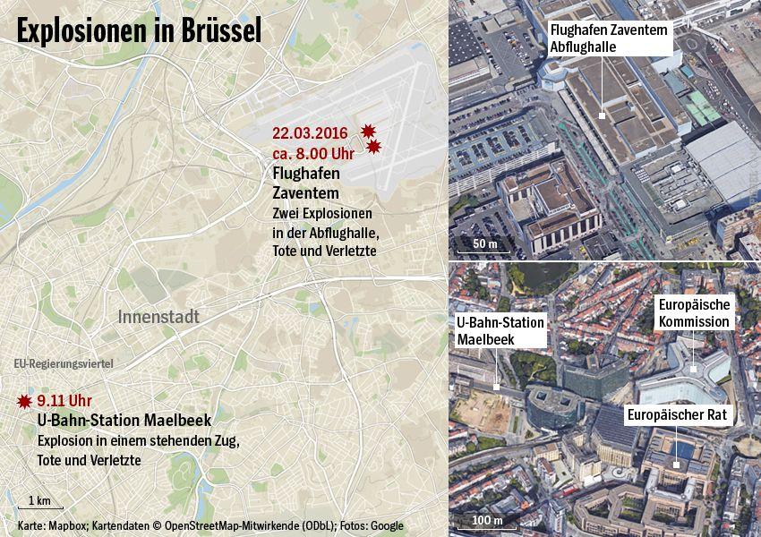 Karte - Explosionen in Brüssel - Stand: 23.03.2016
