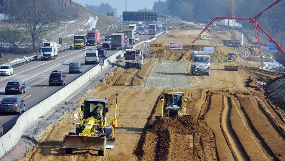Baustelle an der Autobahn A8