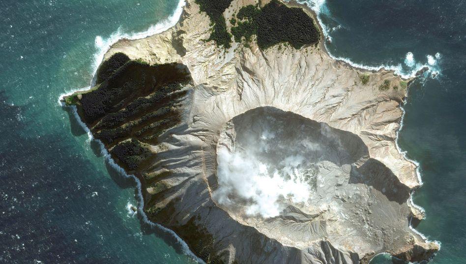 """Satellitenbild von White Island (12.05.2019): Der Ausbruch war """"unglücklich, aber nicht völlig unerwartet"""""""
