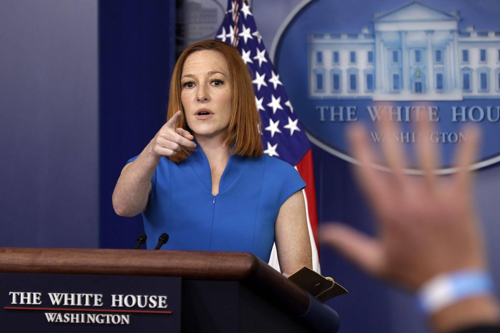 White House Press Secretary Jen Psaki speaks during the daily press briefing at the White House in Washington DC, Tuesda
