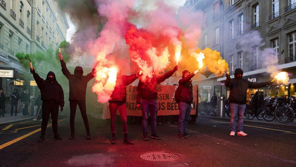 Protest gegen das Weltwirtschaftsforum in Bern