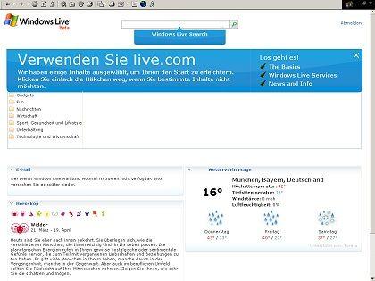 Windows Live mit eingeblendeten Zusatzangeboten: Personalisierbar mit Services und News. Die Wetterkarte ist hier auf Fahrenheit umgestellt - so hat man's auch im Winter warm
