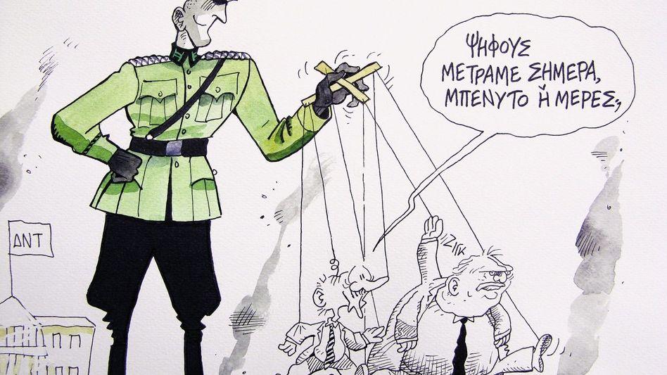 Marionettenspieler: Der deutsche Chef der EU-Taskforce, Horst Reichenbach, lässt Premier Georgios Papandreou zappeln, der seinen Finanzminister fragt: »Zählen wir heute Stimmen oder Tage?«