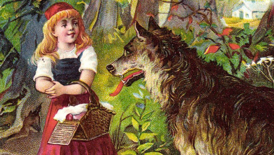Brauchtum: Figuren wie Rotkäppchen (hier eine Postkarte von 1935) wurden rasch populär – auch wenn die Grimmschen Märchen häufig keine altdeutschen Volkserzählungen waren