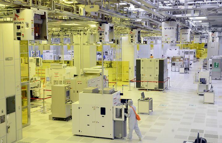 Moderne Chipfabrik in Südkorea