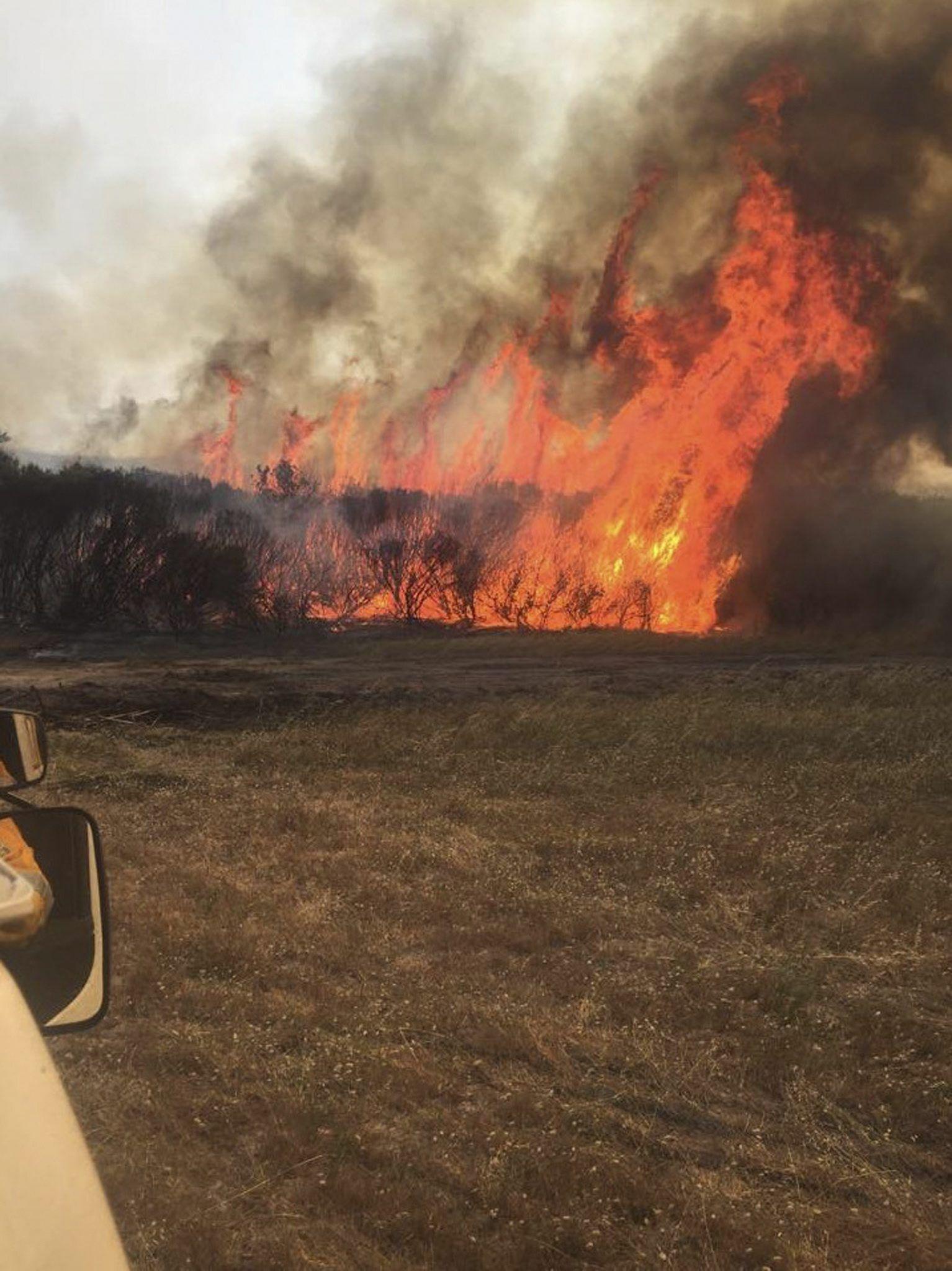 Bushfire burning out of control near Esperance, on Western Austra