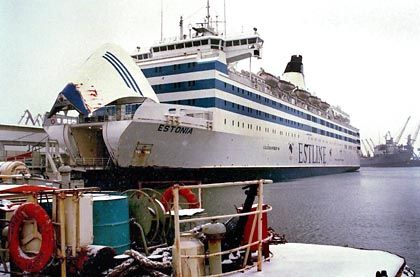 The Estonia in the docks in Tallinn. The ship sank on the night of Sept. 28 1994, killing 852 people.