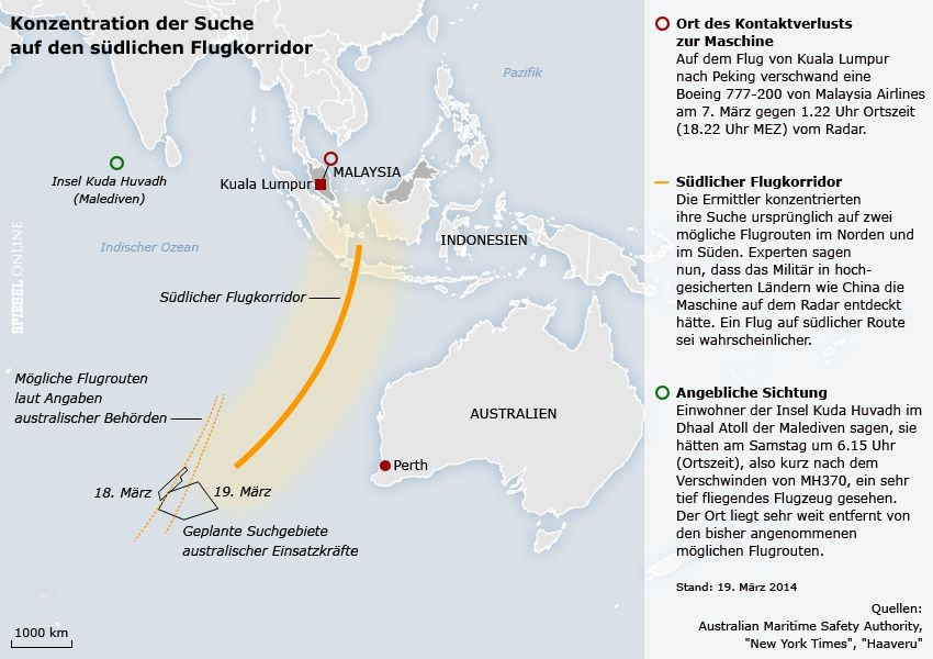 Karte - MH370 - Konzentration der Suche auf den Süden - Stand: 19.03.2014