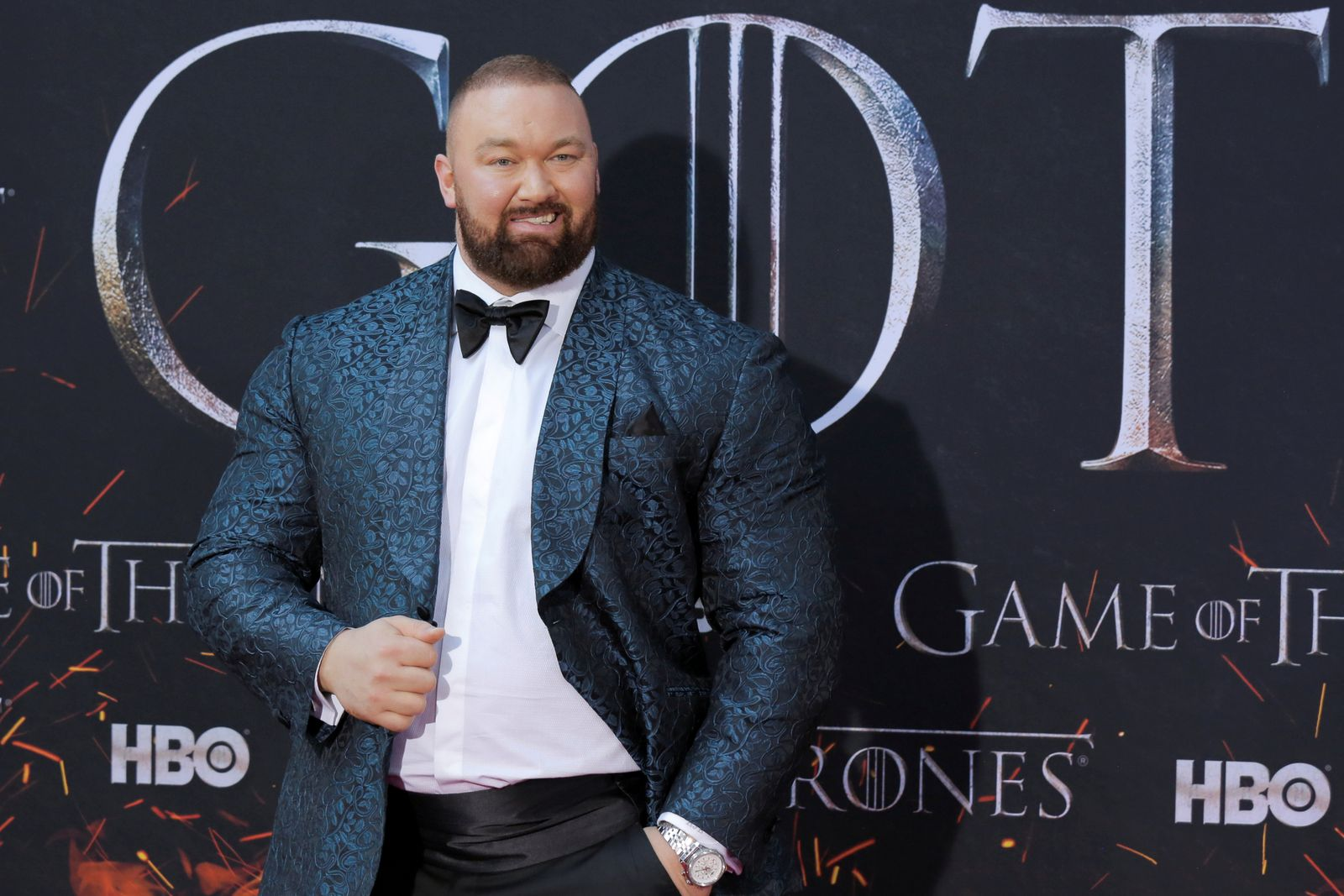 """FILE PHOTO: Hafthor Julius Bjornsson arrives for the premiere of the final season of """"Game of Thrones"""" at Radio City Music Hall in New York"""