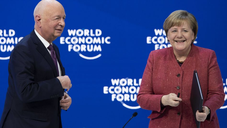 Angela Merkel mit Klaus Schwab