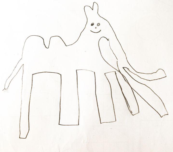 Frage: Hat das Kamel zwei Rüssel, Höcker oder Beutel? Olivias fantasievolle Antwort im Bild