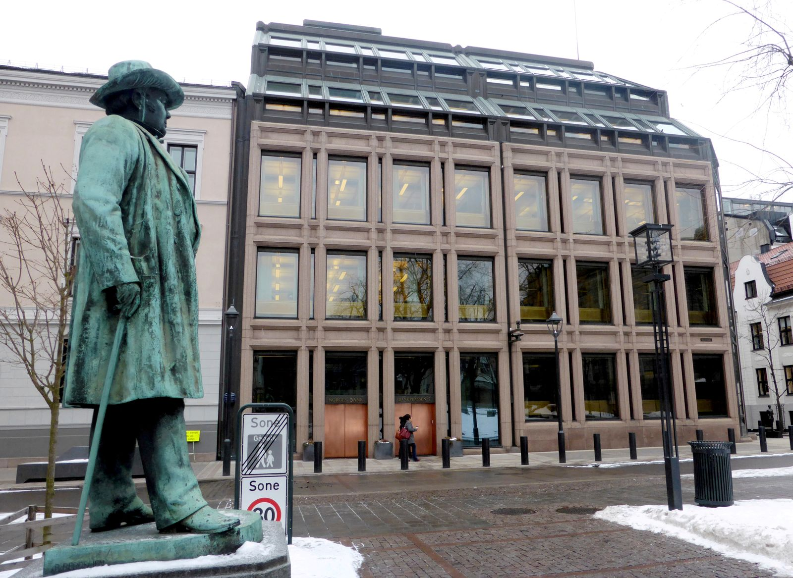 FILE PHOTO: A general view of the Norwegian central bank, where Norway's sovereign wealth fund is situated, in Oslo