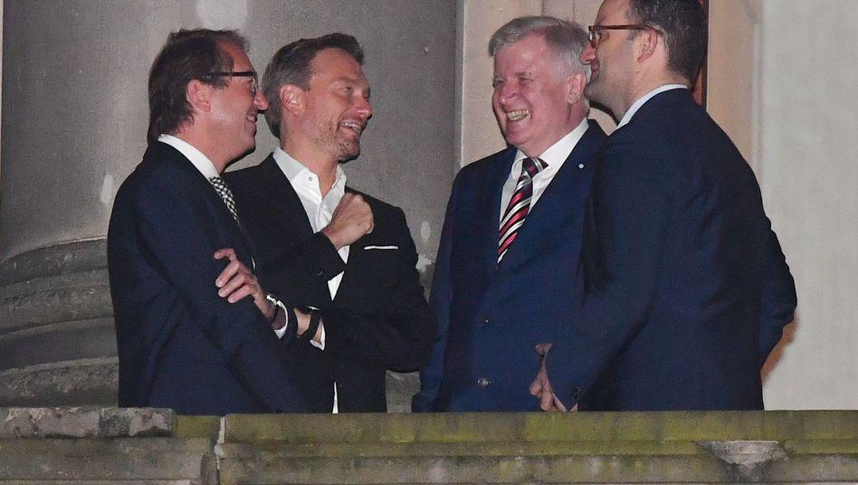 Alexander Dobrindt, Christian Lindner und Jens Spahn zusammen mit CSU-Chef Horst Seehofer (2.v.r.)