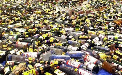 Alcohol is a touchy subject in Muslim countries -- here, booze is destroyed in Jakarty prior to Ramadan.