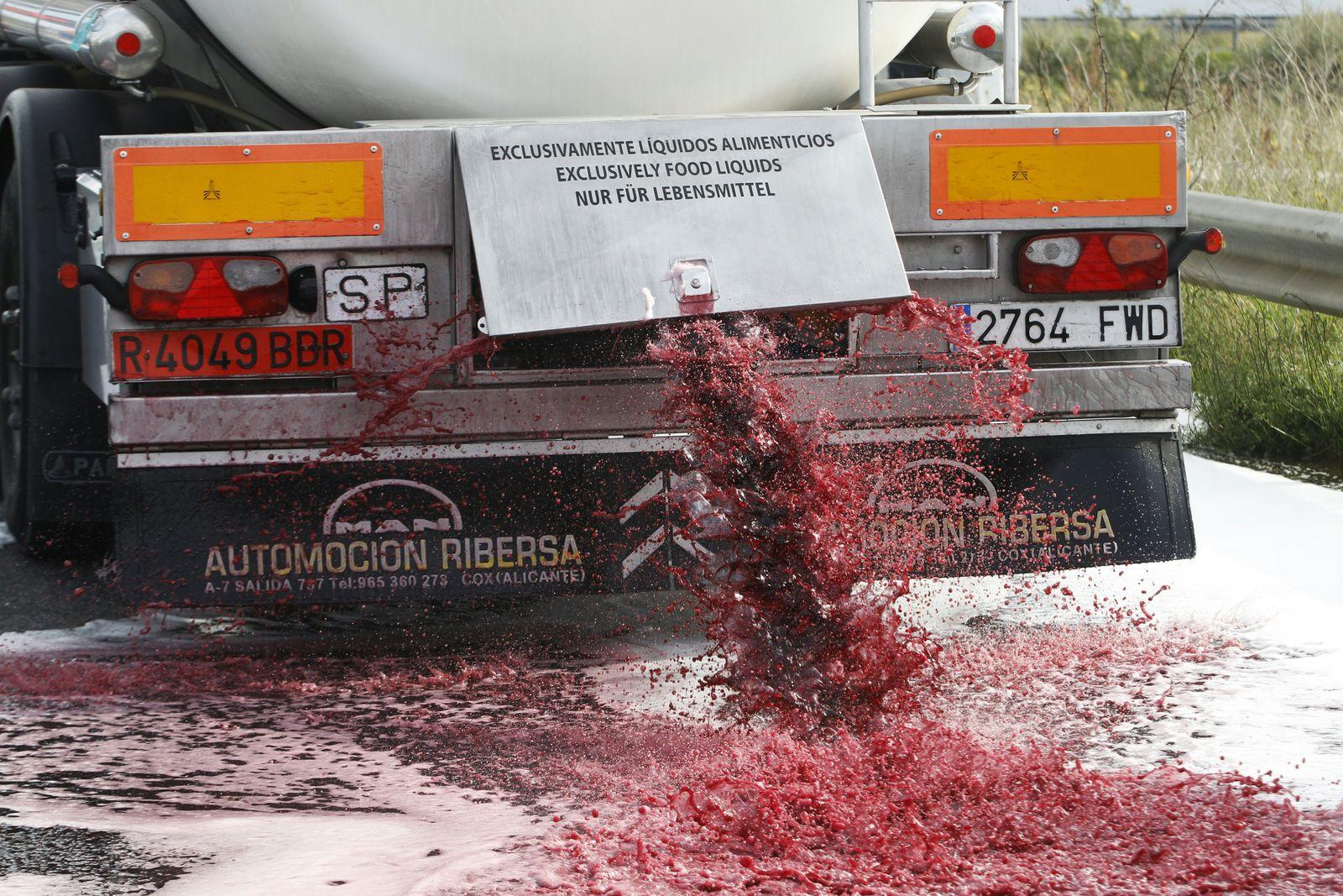 Französische Winzer / Spanischer Wein/ Protest