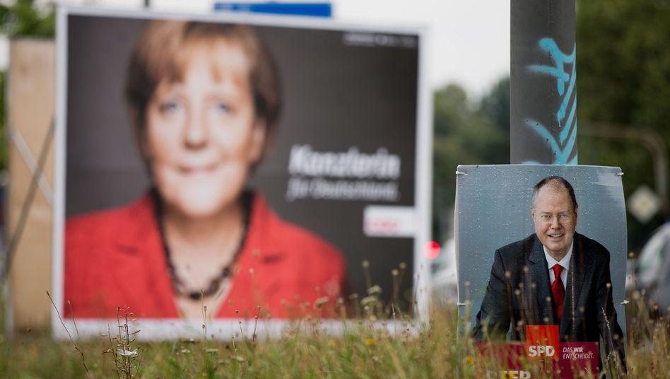 Wahlplakate von CDU, SPD: Keine klare Mehrheit in der Umfrage