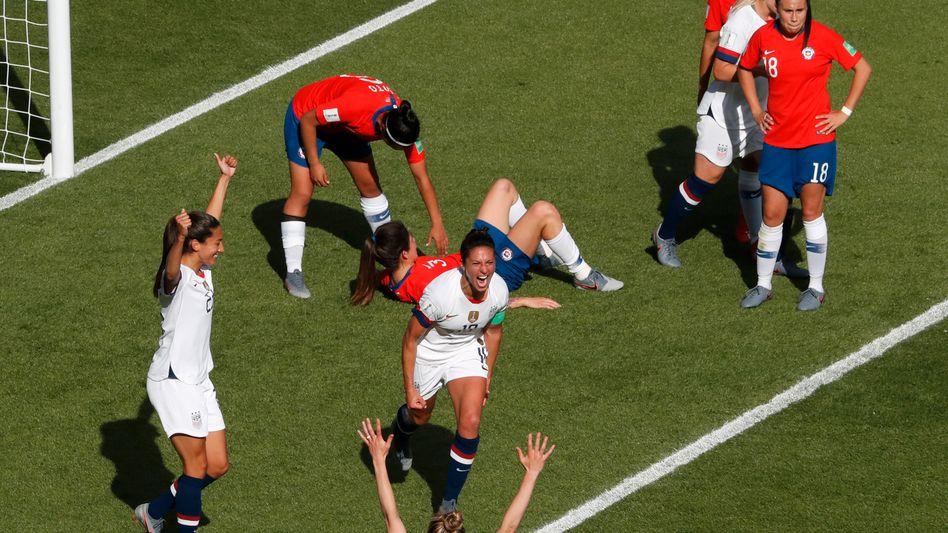US-Stürmerin Carli Lloyd (vorne): Zwei Treffer gegen Chile