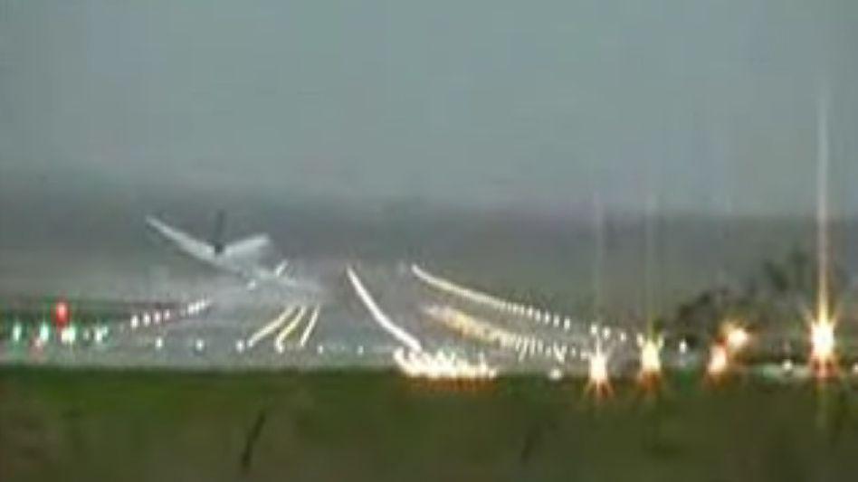 A video still of the 2008 near crash of a Lufthansa Airbus A320 jet near Hamburg.