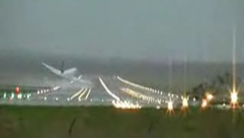 A video still of the 2008 near crash of a Lufthansa Airbus A320 jet near Hamburg.