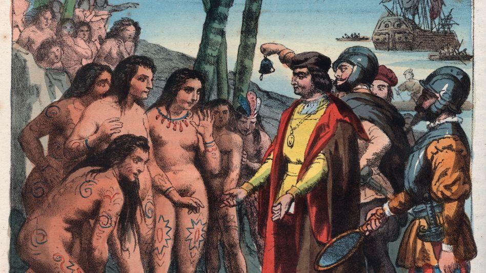 """Gemälde zur Landung von Christoph Kolumbus (1492) in Amerika: Die Europäer kamen mit der Vorstellung eines weitgehend """"leeren Landes"""", das sie ohne Rücksicht auf die Bevölkerung in Besitz nahmen"""