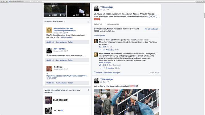 """Screenshot von Til Schweigers Facebook-Seite: """"Ich hatte es befürchtet"""""""