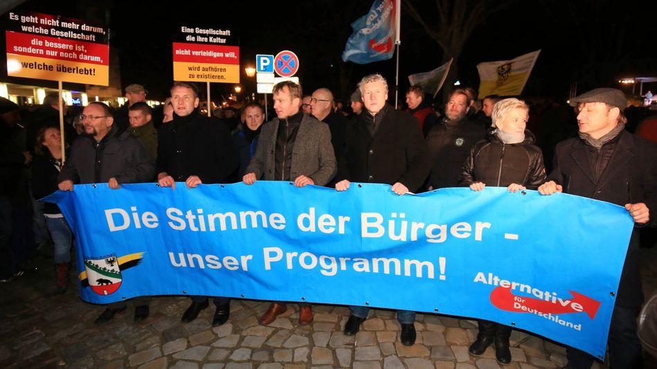 Höcke (2.v.l.) und Poggenburg (Mitte) bei der AfD-Kundgebung in Magdeburg: Etwa 600 Teilnehmer