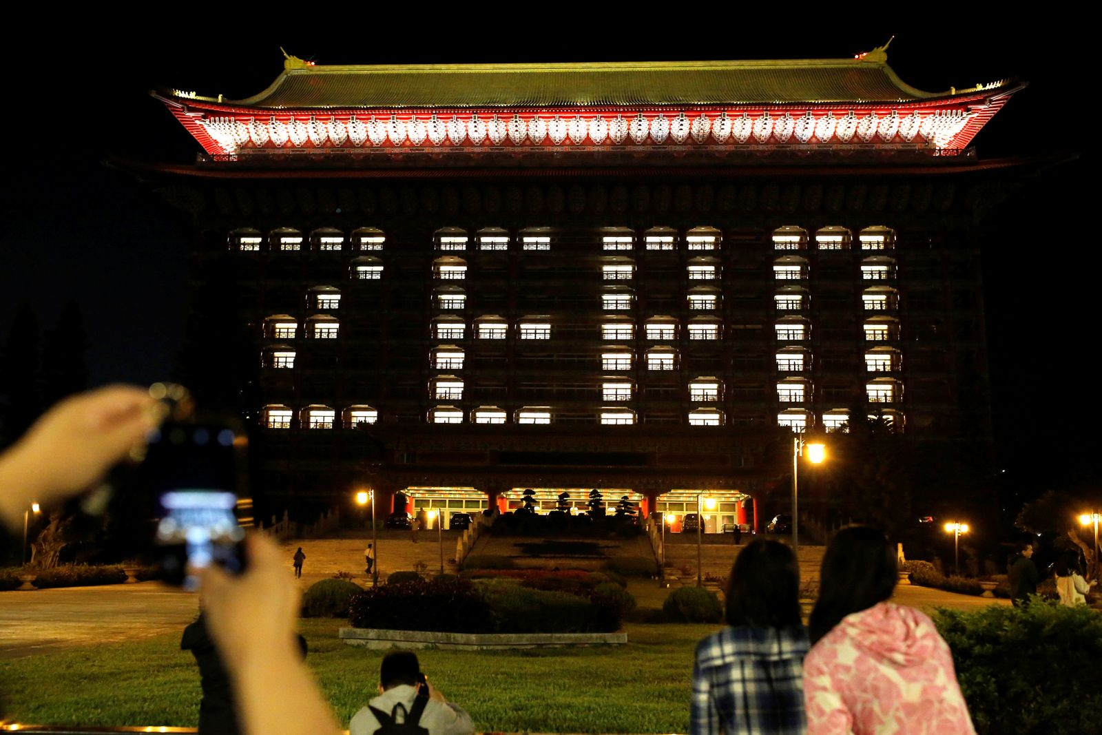 General view of a Grand Hotel that use hotel room lights amid a spread of the coronavirus disease (COVID-19) to celebrate zero confirmed cases, in Taipei