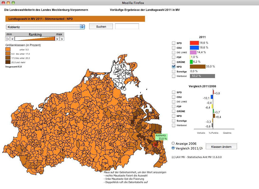 EINMALIGE VERWENDUNG Landtagswahl / Grafik Verteilung NPD SCREENSHOT