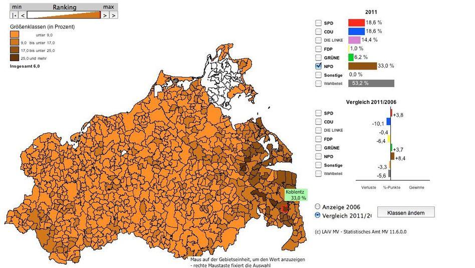 Brauner Osten an der Ostsee (Quelle: LAiV MV): In einigen Orten 25 Prozent oder mehr