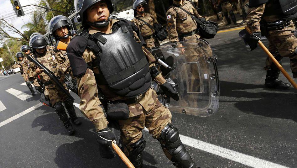 """Polizisten in Belo Horizonte (am Dienstag): """"Ausübung von Gewaltakten vorbereitet"""""""