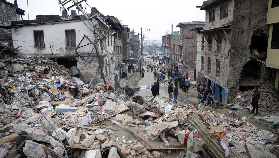 Von Beben zerstörtes Kathmamdu (Nepal, 26. April 2015)