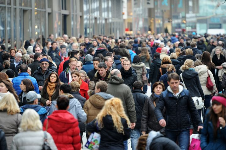 Menschenmassen in Frankfurt am Main