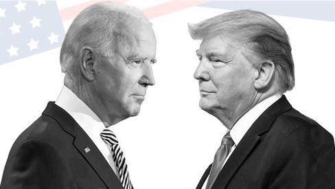 Biden (ein bisschen links), Trump (rechts)
