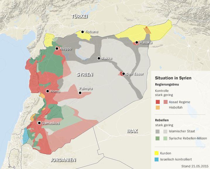 Gebietsverteilung in Syrien (Stand 21. Mai 2015)