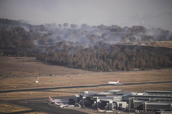Brände am Flughafen Canberra: Starker Wind und 41 Grad