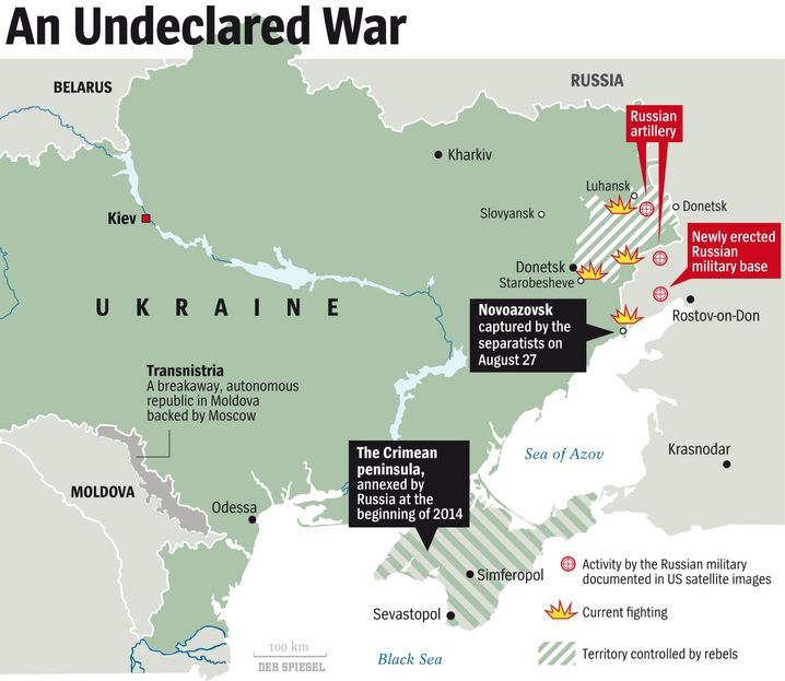 Map: The Battlefields of Eastern Ukraine.