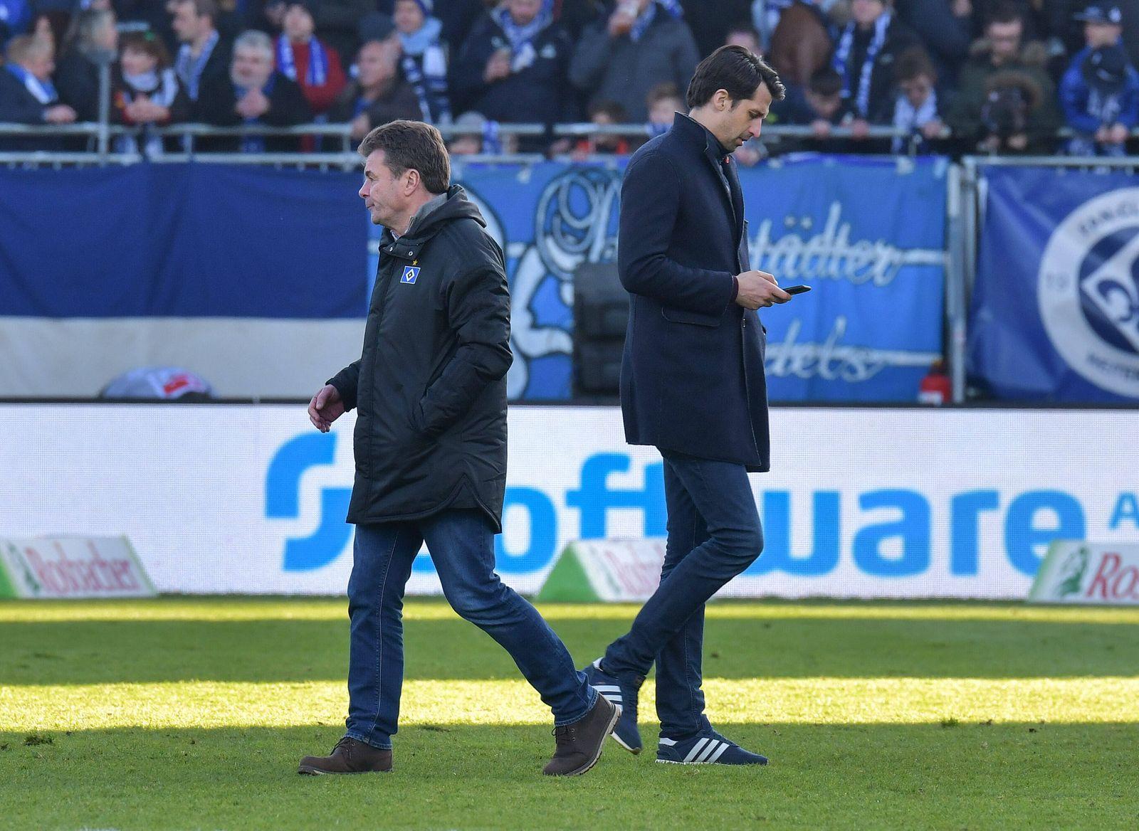 21.12.2019, xblx, Fussball 2.Bundesliga, SV Darmstadt 98 - Hamburger SV emspor, v.l. Trainer Dieter Hecking (Hamburg, H