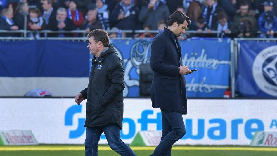 Dieter Hecking und Sportvorstand Jonas Boldt gehen künftig getrennte Wege