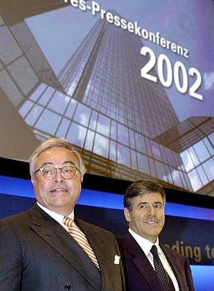 Haben gut lachen: Vorstandssprecher Rolf Breuer mit designiertem Nachfolger Josef Ackermann