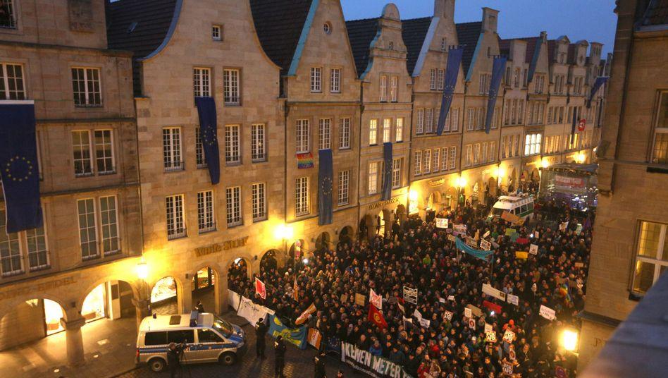Demonstration gegen die AfD in Münster