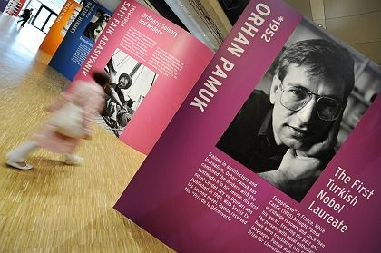 """Visiting the Frankfurt Book Fair, where Turkey is """"guest of honor"""" this year, Pamuk criticized his country's government for persecuting writers."""