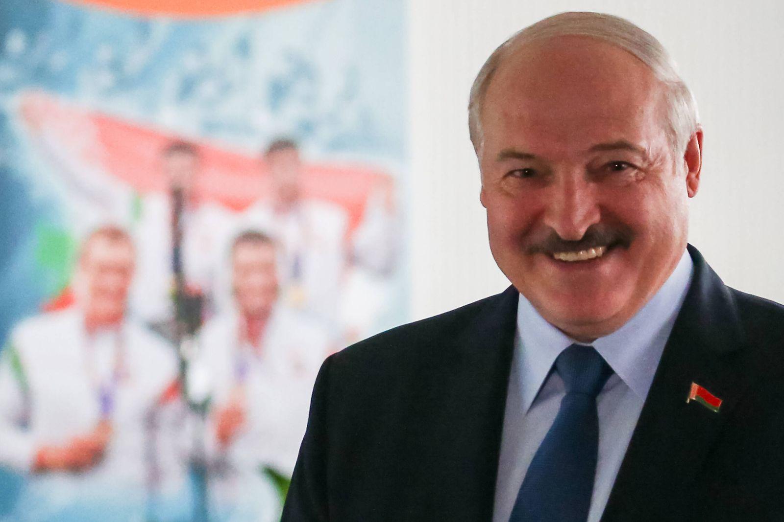 MINSK, BELARUS - AUGUST 9, 2020: Belarus Incumbent President Alexander Lukashenko smiles as he votes in the 2020 Belaru