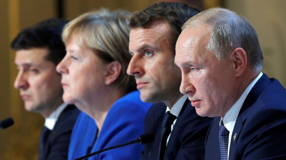 Ukraines Präsident Selenskyj, Kanzlerin Merkel, Präsidenten Macron, Putin beim letzten Gipfel in Paris, Dezember 2019