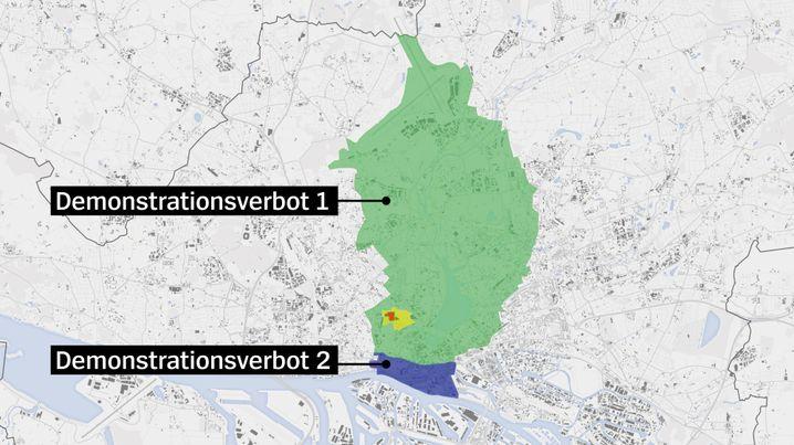 Versammlungsverbotszone in Hamburg während dem Gipfel